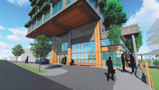 A rendering of the 20-story hotel planned in the Gulch along 11th Avenue North and Grundy Street.