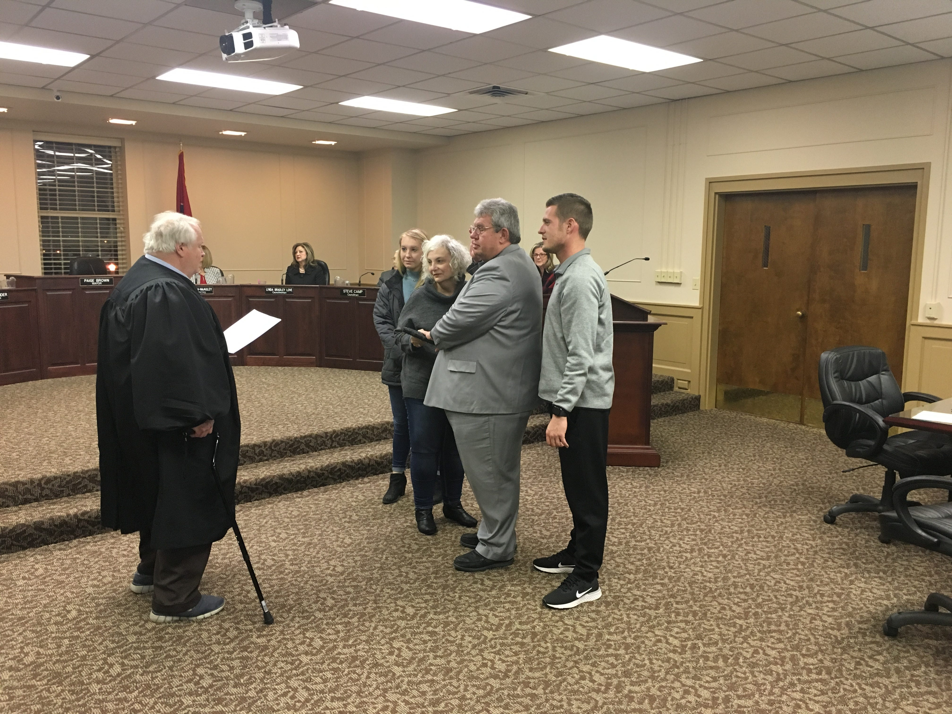 District 3's Jimmy Overton is sworn in as councilman on Jan. 15, 2019 after he was re-elected in 2018.