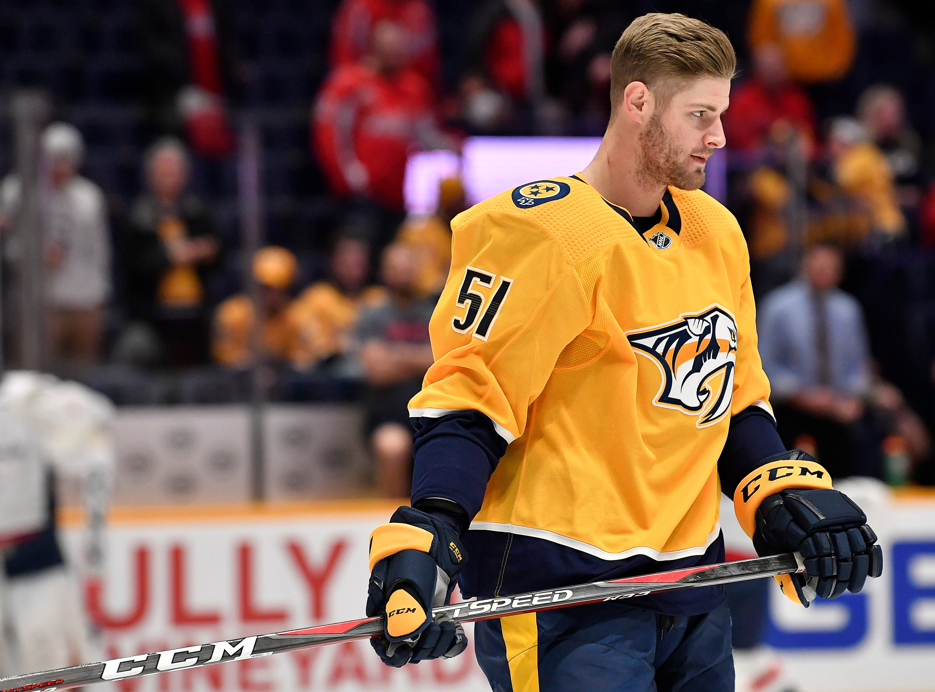 Predators left wing Austin Watson (51) warms up before the game against the Capitals at Bridgestone Arena Tuesday, Jan. 15, 2019, in Nashville, Tenn.