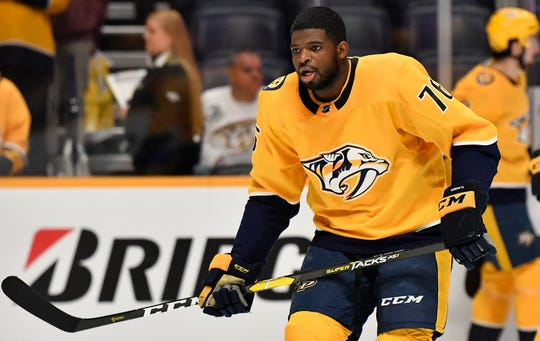 Predators defenseman P.K. Subban (76) warms up before the game against the Capitals at Bridgestone Arena Tuesday, Jan. 15, 2019, in Nashville, Tenn.