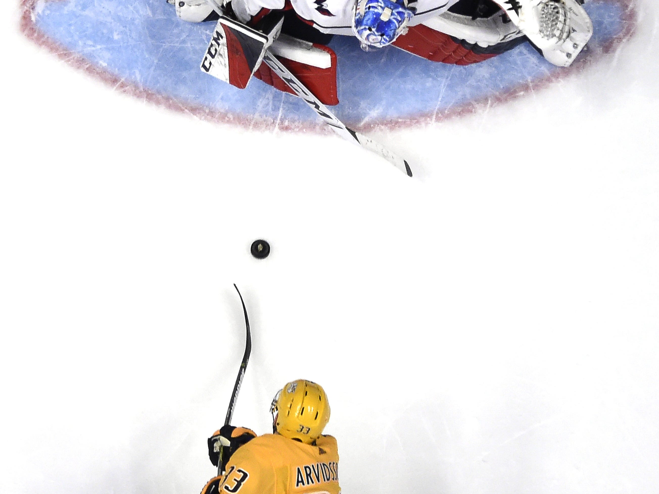 Jan. 15, 2019: Predators 7, Capitals 2 -- Predators right wing Viktor Arvidsson (33) shoots a goal past Capitals goaltender Pheonix Copley (1) during the second period at Bridgestone Arena Tuesday, Jan. 15, 2019, in Nashville, Tenn.