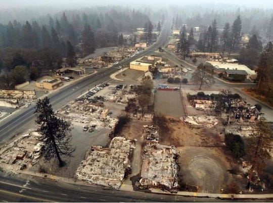 Downtown Paradise, California was left in shambles last November by the Camp Fire.