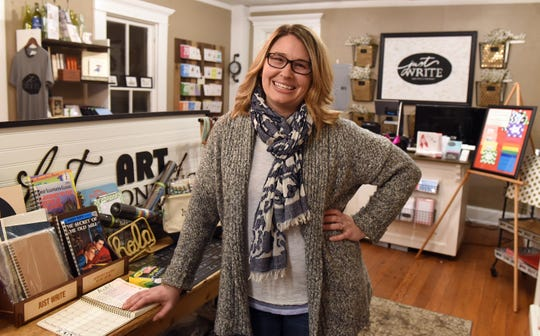 Stefanie Lauvray, owner of Just WRITE Fine Paper & Stationery, in the businesses Granville location. The local stationary store also has a location in the Indian Mound Mall.