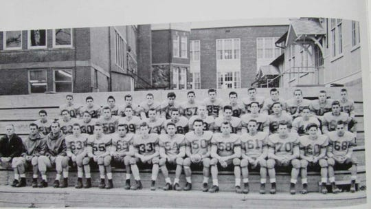 "The Butler High School Football Team of 1960 included Lawrence ""Larry"" Hand and Gregory ""Greg"" Van Orden who are both honored in the Appalachian University Sports Hall Of Fame. First row: Coach Hawkins, Coach Smith, Coach Barcocy, Mike McDonald, Larry Pessalano, Nick Maglio, Bill Brickman, Leo Rizio, Gordon Campbell, Art Jansen, Jordan Baranik, George Ernst, will Greene, Joe Crescenti. Second row: Bill Mabey, Paul Simpson, Clive Chilton, Bob McCracken, Frank Parisi. Third row: George Van Riper, James Aiosa, Ronald Dempsey, Howard Van Romer, John Odenwelder, Tony Hoeflinger, Greg Van Orden, John Watt, Bill Doherty, Daniel Morse, Ron Opthof, Hugh McMenamy, Jack Wehrell, Roger Filippini."