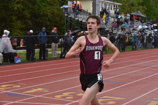 Ryan Fahey, running the 3,200 last May, won the same event at the Big North Freedom meet on Monday, Jan. 14, 2019, helping the Maroon boys win the meet.