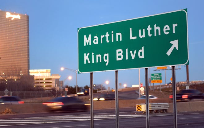 A Route 30 sign points drivers to Martin Luther King Jr. Boulevard in Atlantic City, New Jersey. Abilene libraries have books that focus on King and African-American contributions.