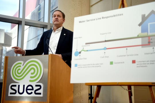 David Stanton, president of Suez North America, outlines steps at a news conference Wednesday that the company is taking, including offering customers served by a utility-owned lead service a free test of their drinking water. If those test results are above government standards for lead Suez will provide customers a water filter that removes lead.