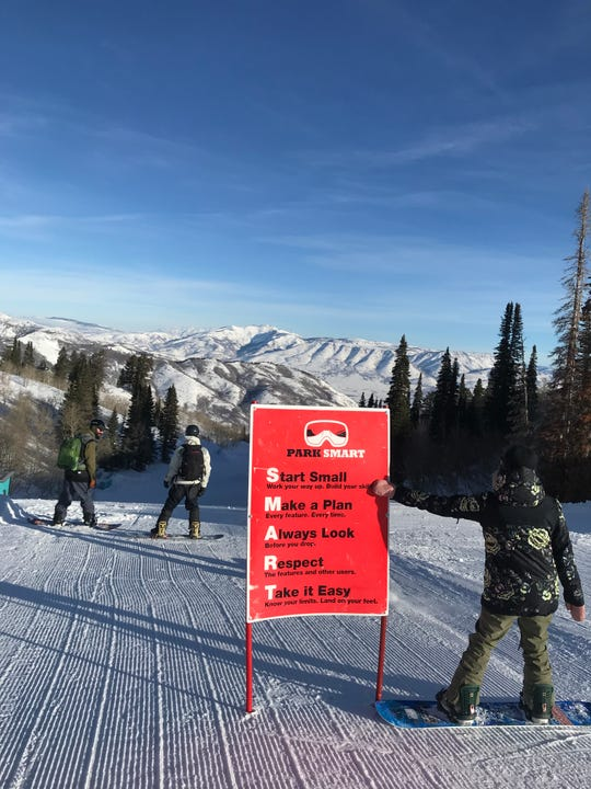 At Utah's Snowbasin, a safety tip sign for the terrain park is displayed prominently so riders and skiers can be more aware while negotiating jumps and other features in the park.