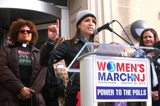 Elizabeth Meyer, founder of the Women's March on New Jersey, speaks at the 2018 march in Morristown.