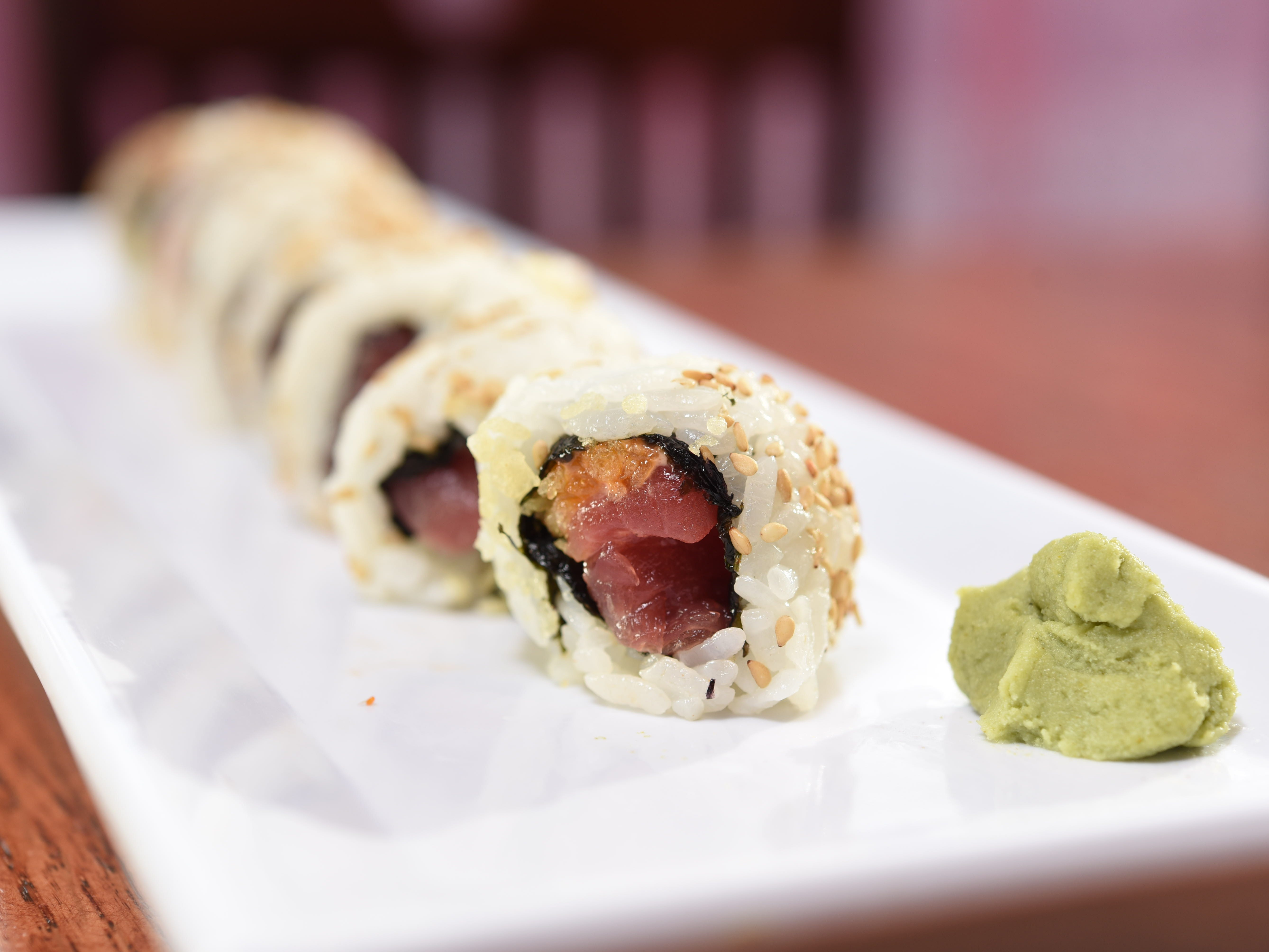 One of the many fantastic sushi rolls at Sakura Bana in Ridgewood