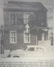 Microfilm of the Paterson Evening News, from May 7, 1963, shows the second story window where Ralph Best allegedly shot at kids on Union Ave.