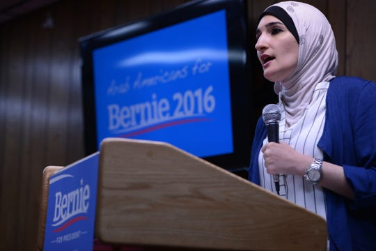 Linda Sarsour, co-chair of the national Women's March, speaks during a campaign event for U.S. Sen. Bernie Sanders in Clifton in 2016.