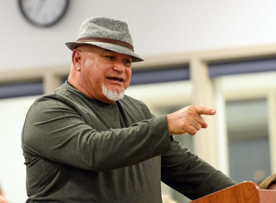 Gabriel Mendoza, owner of the Shed Restaurant, speaks to a public meeting on the Valley Drive construction project on January 15, 2019.