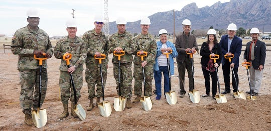From left, Sgt. Maj. William Wofford, Brig. Gen. Gregory Brady,  Colonel David Cheney, Colonel Christopher Ward, Sgt.Maj. Robert Parker, WSMR Historical Foundation president Frances Williams, foundation treasurer Jon Gibson, Dara Parker representing Sen. Martin Heinrich, Rene Romo for Sen. Tom Udall and WSMR public works director Jose Gallegos.