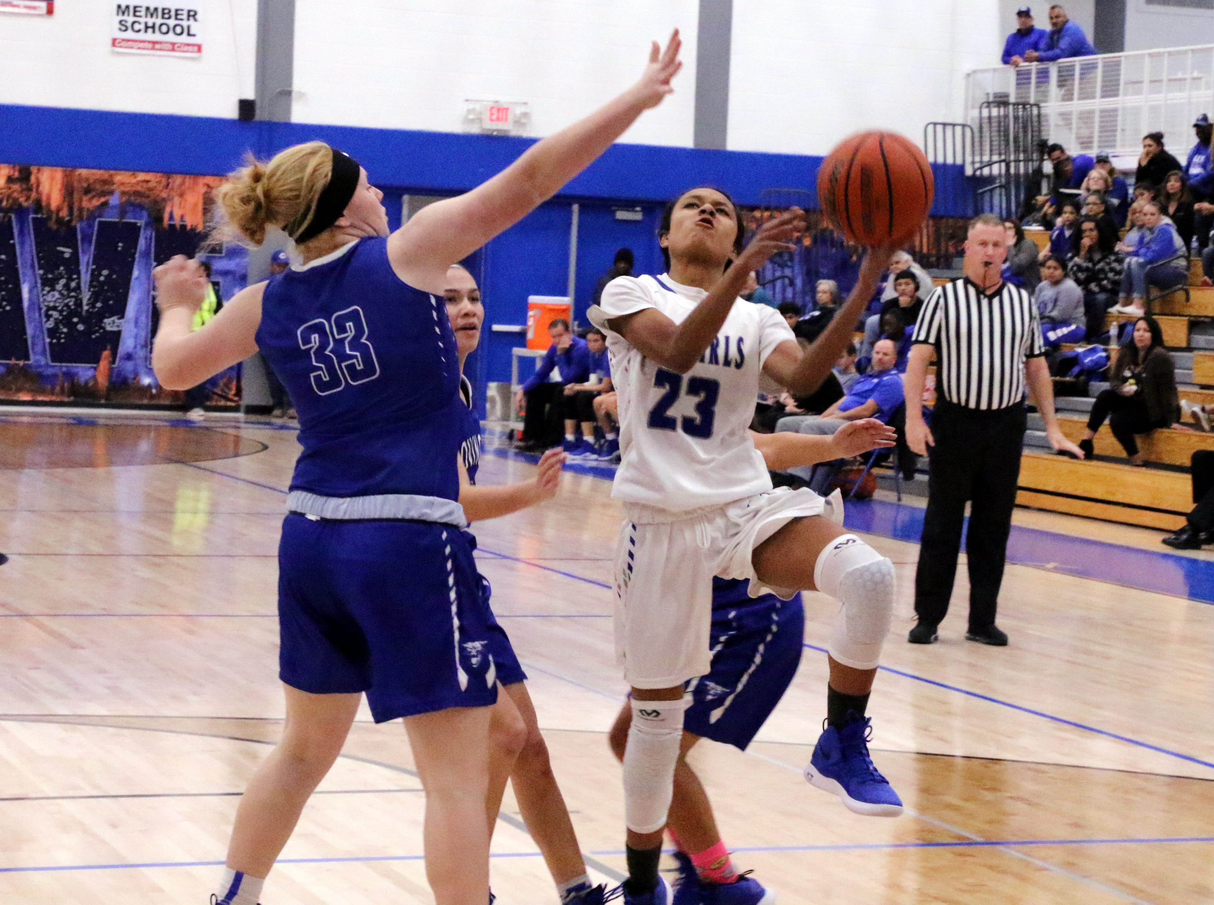 Carlsbad's Aaliyah Jones goes for a layup during the fourth quarter in Tuesday's game against Lovington. She finished with two points.