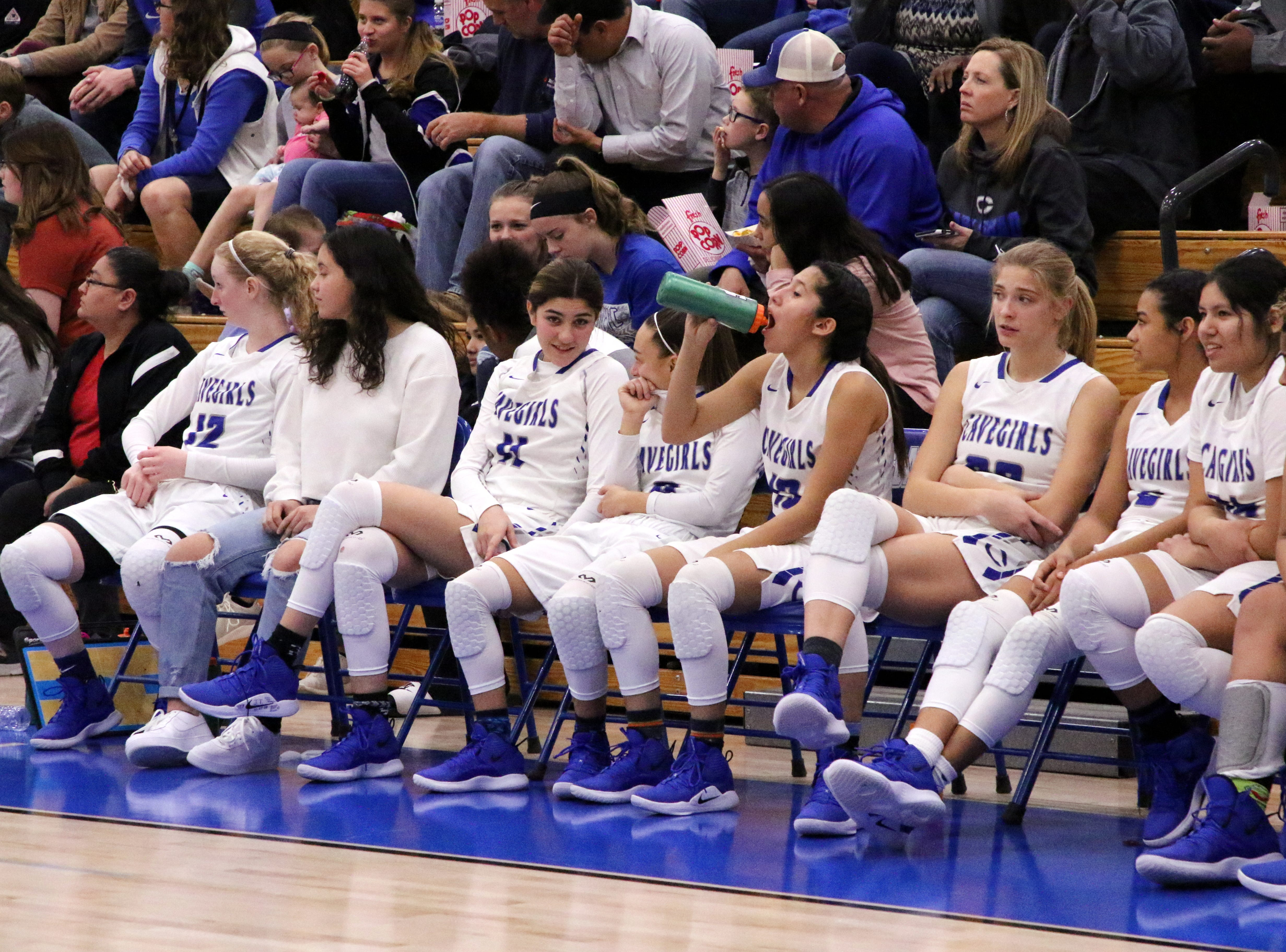 The Carlsbad bench looks on during Tuesday's game against Lovington.