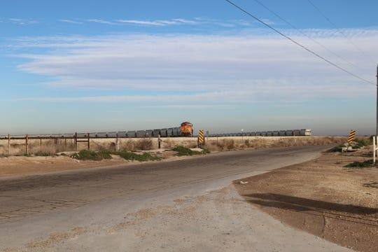 A frac sand train rolls through southern Eddy County, Jan. 16, 2019.