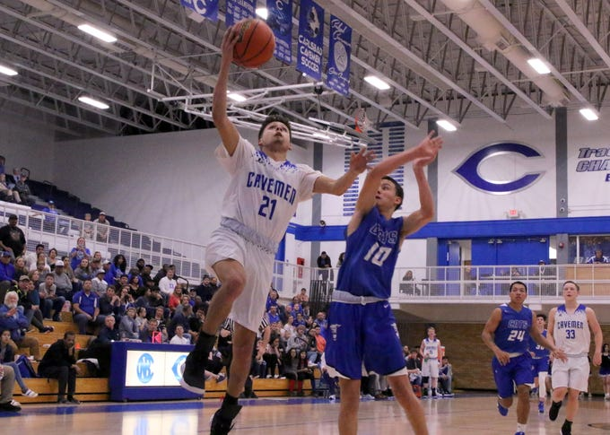 Carlsbad's Patrick Espinosa gets a fastbreak layup during the first half of Tuesday's game against Lovington. He finished with 15 points.