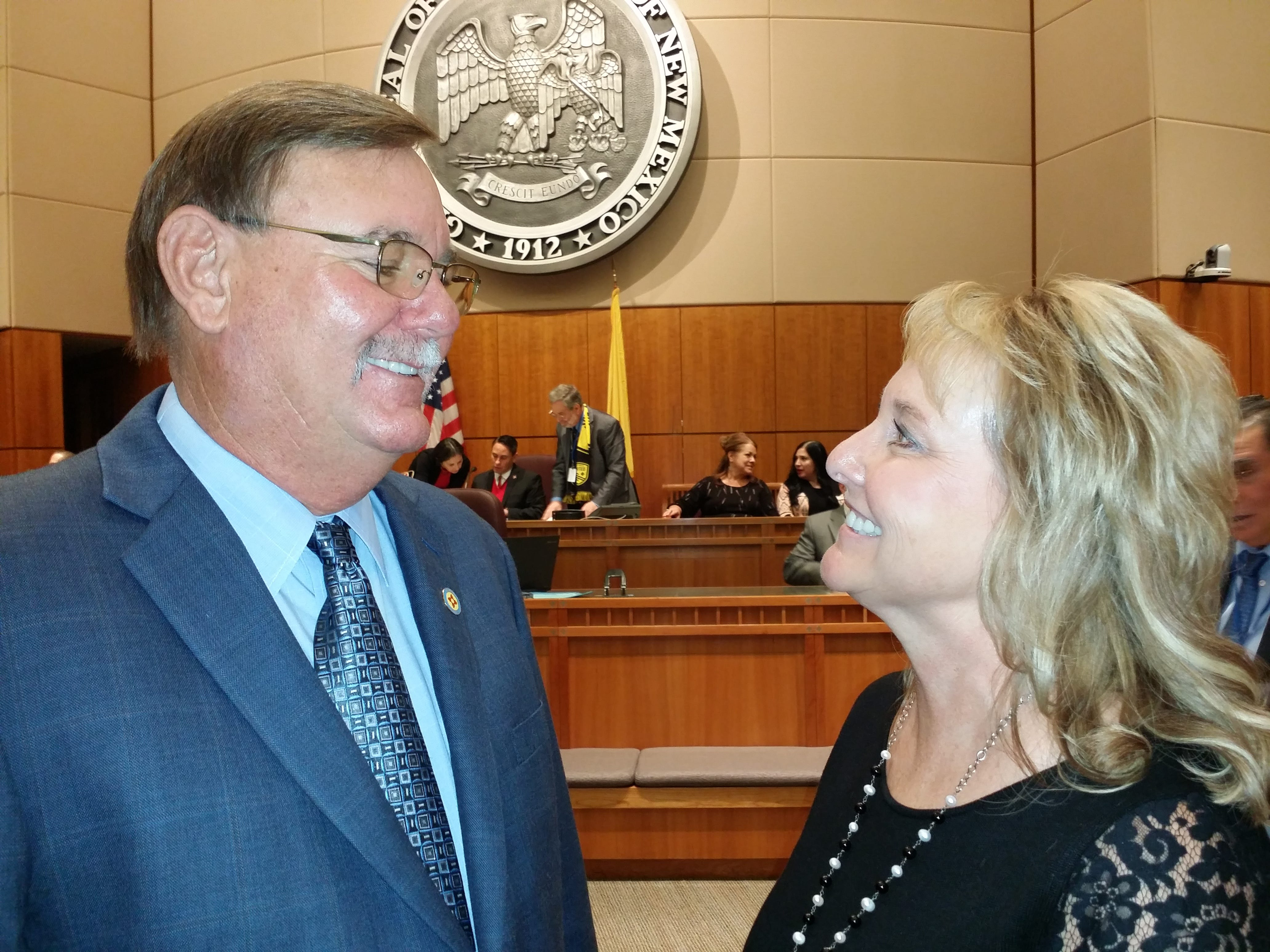 Sen. Gregg Fulfer with wife Kim Fulfer ahead of opening ceremonies at the New Mexico Roundhouse in Santa Fe Jan. 15.