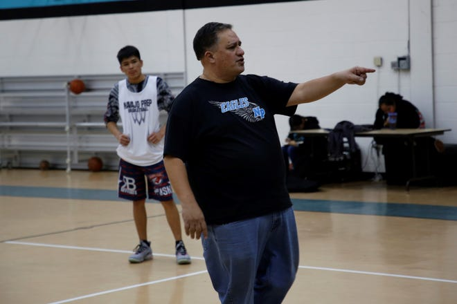Navajo Prep boys basketball coach Rick Hoerner, seen here during Tuesday's practice, has a 66-24 record with the Eagles entering Friday's district opener against Crownpoint. Hoerner will step down after this season to relocate to Portland, Ore.