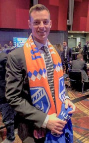 Former Michigan Buck goalkeeper Jimmy Hague was all smiles after being taken in the second round of the MLS SuperDraft by the expansion Cincinnati FC.