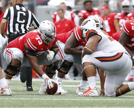 Ohio State's Michael Jordan (73) started 41 straight games during his three-year career with the Buckeyes.