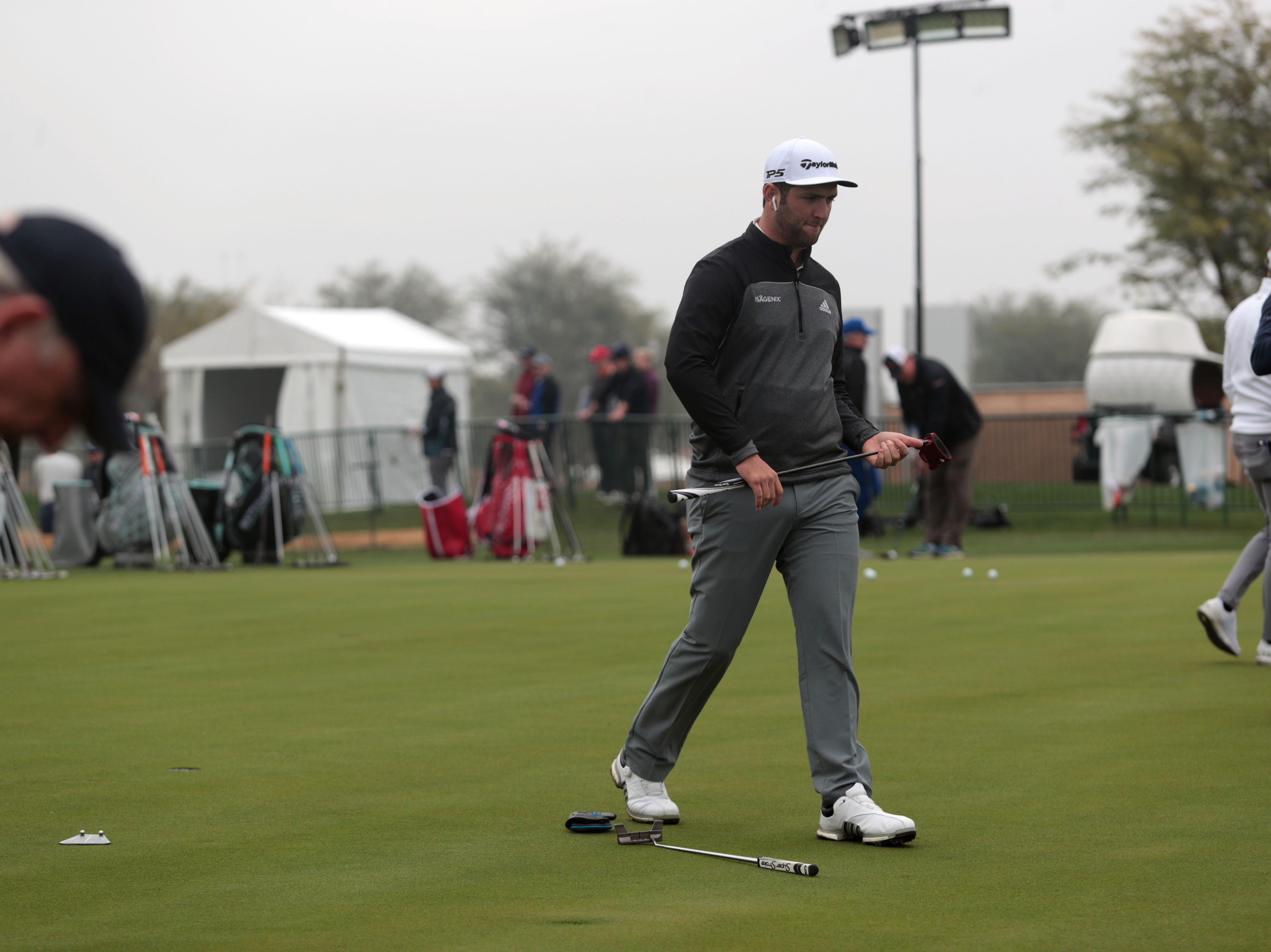 Jon Rahm on the putting green at the Desert Classic on Wednesday, January 16, 2019