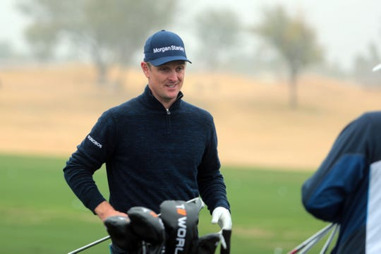 Justin Rose on the driving range at the Desert Classic on Wednesday, January 16, 2019 in La Quinta.