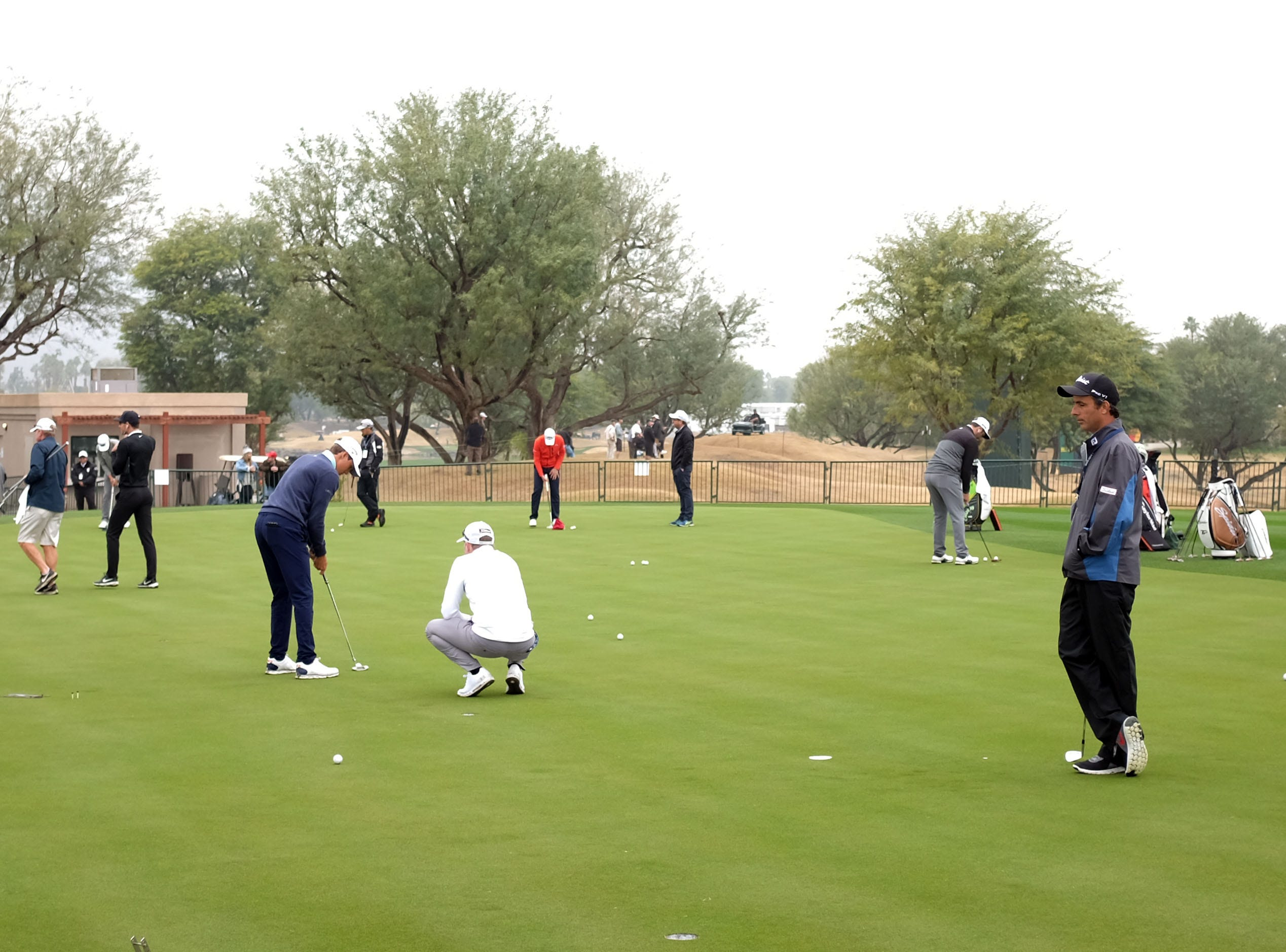 Pros practice putting for the Desert Classic on Wednesday, January 16, 2019 in La Quinta.