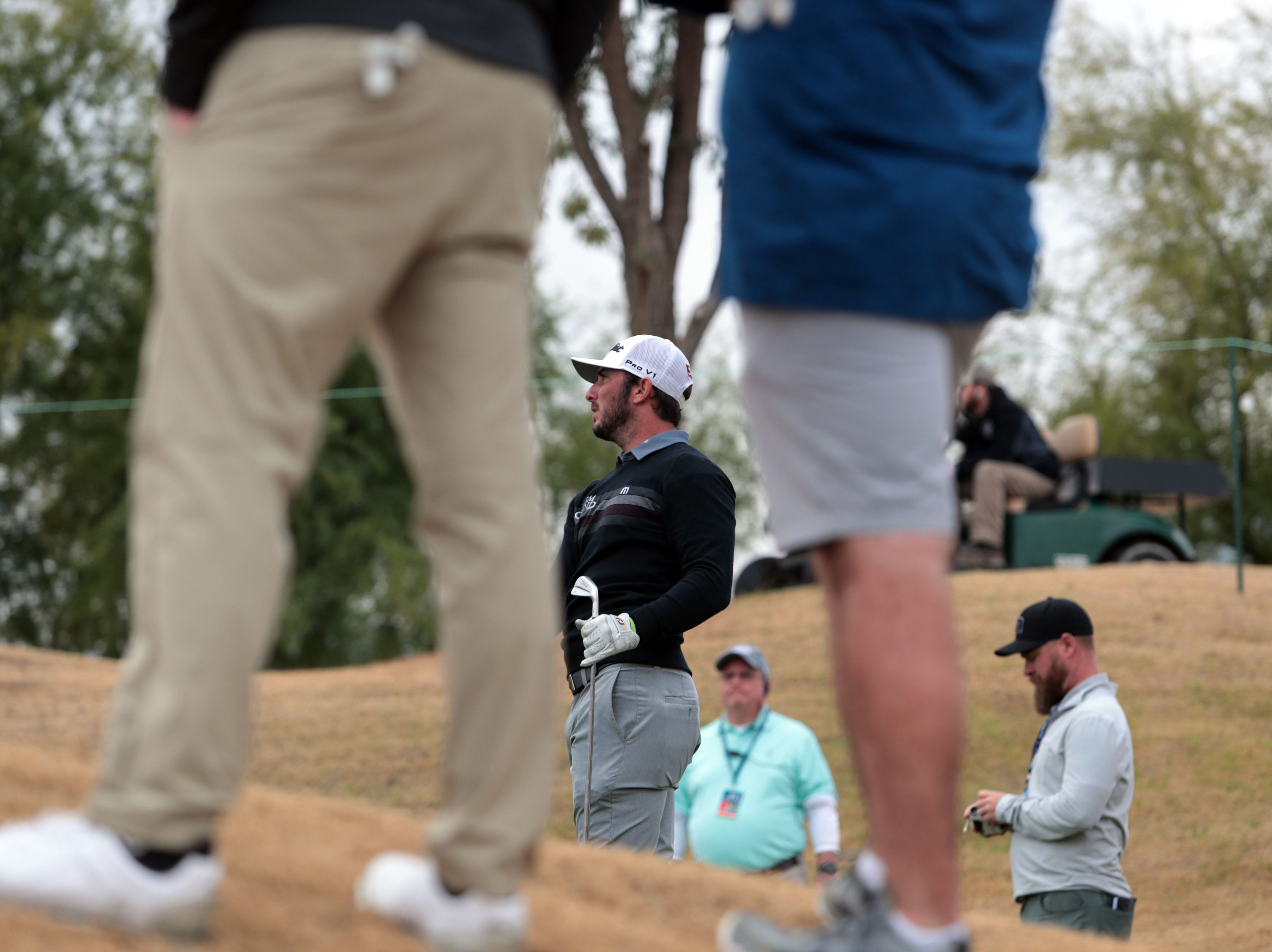 Max Homa on 17 tee in the Stadium Course during the pro-am portion of Desert Classic on Wednesday, January 16, 2019 in La Quinta.