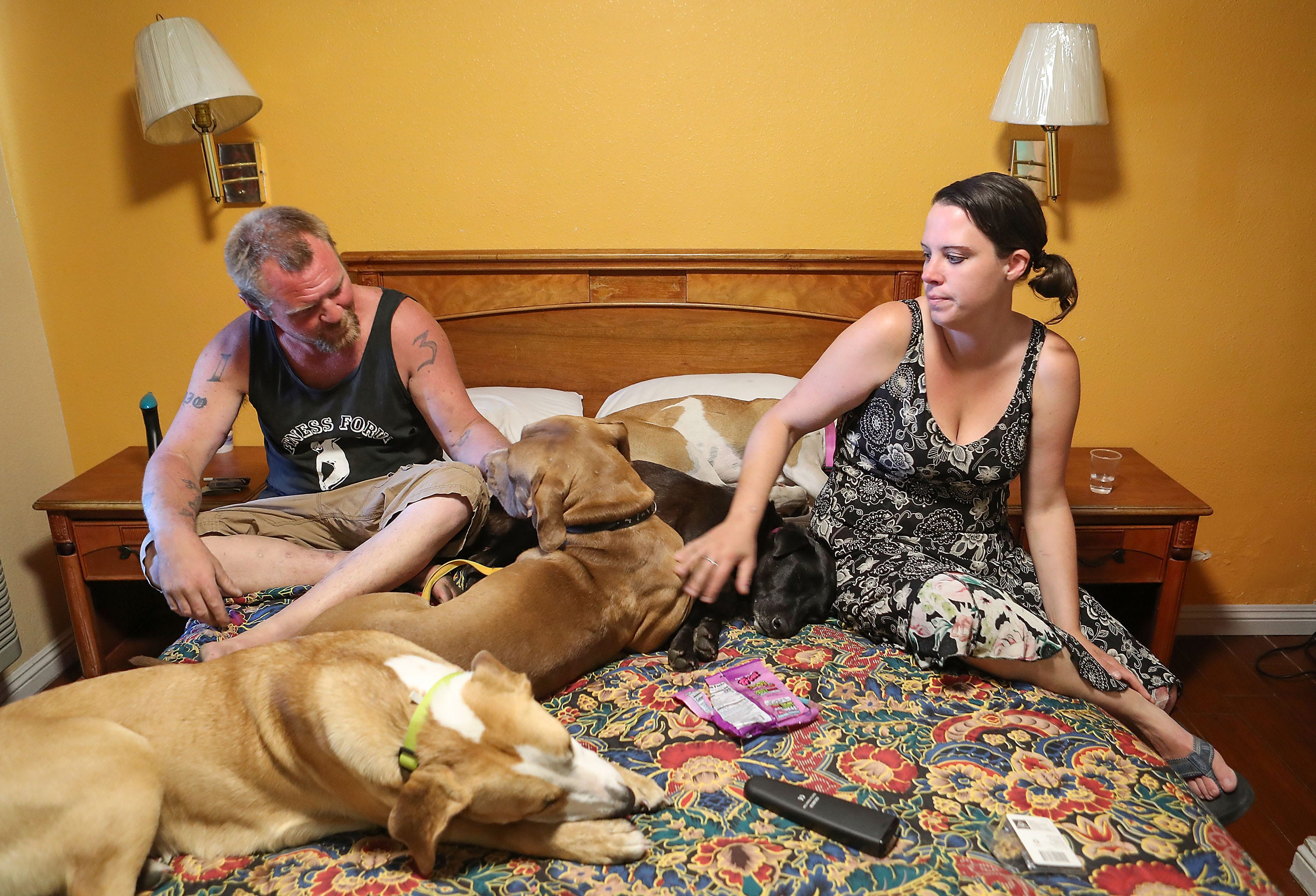 Bryan Hensley and Carene Riale were housed for 30 days in a motel in Indio with their four dogs. The two were displaced from the Coachella encampment in May 2018.