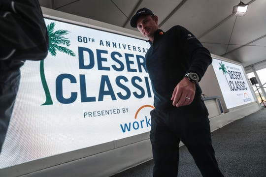 Justin Rose leaves after his press conference at the Desert Classic on Wednesday, January 16, 2019 in La Quinta.