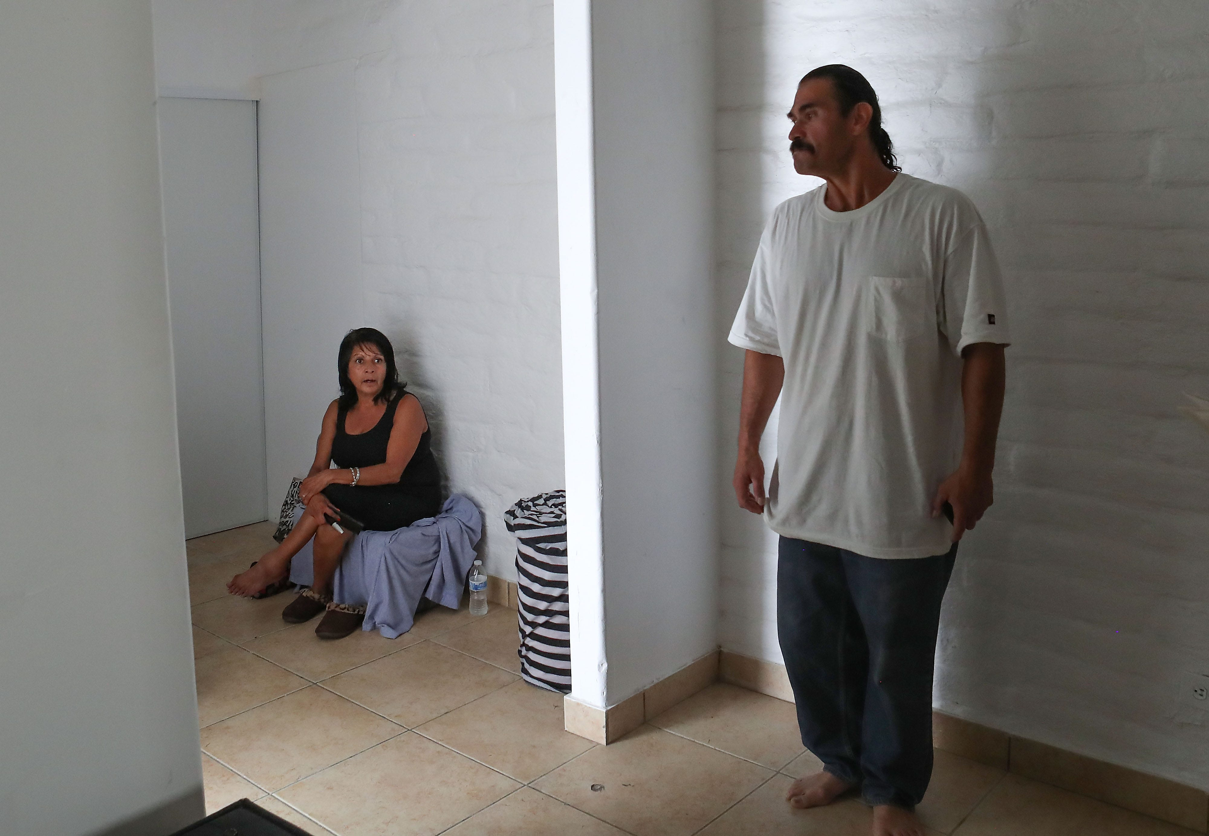 Angie Puerta and her boyfriend Robert didn't have a working stove or swamp cooler when they first moved in to their Desert Hot Springs apartment. Pictured in June 2016.