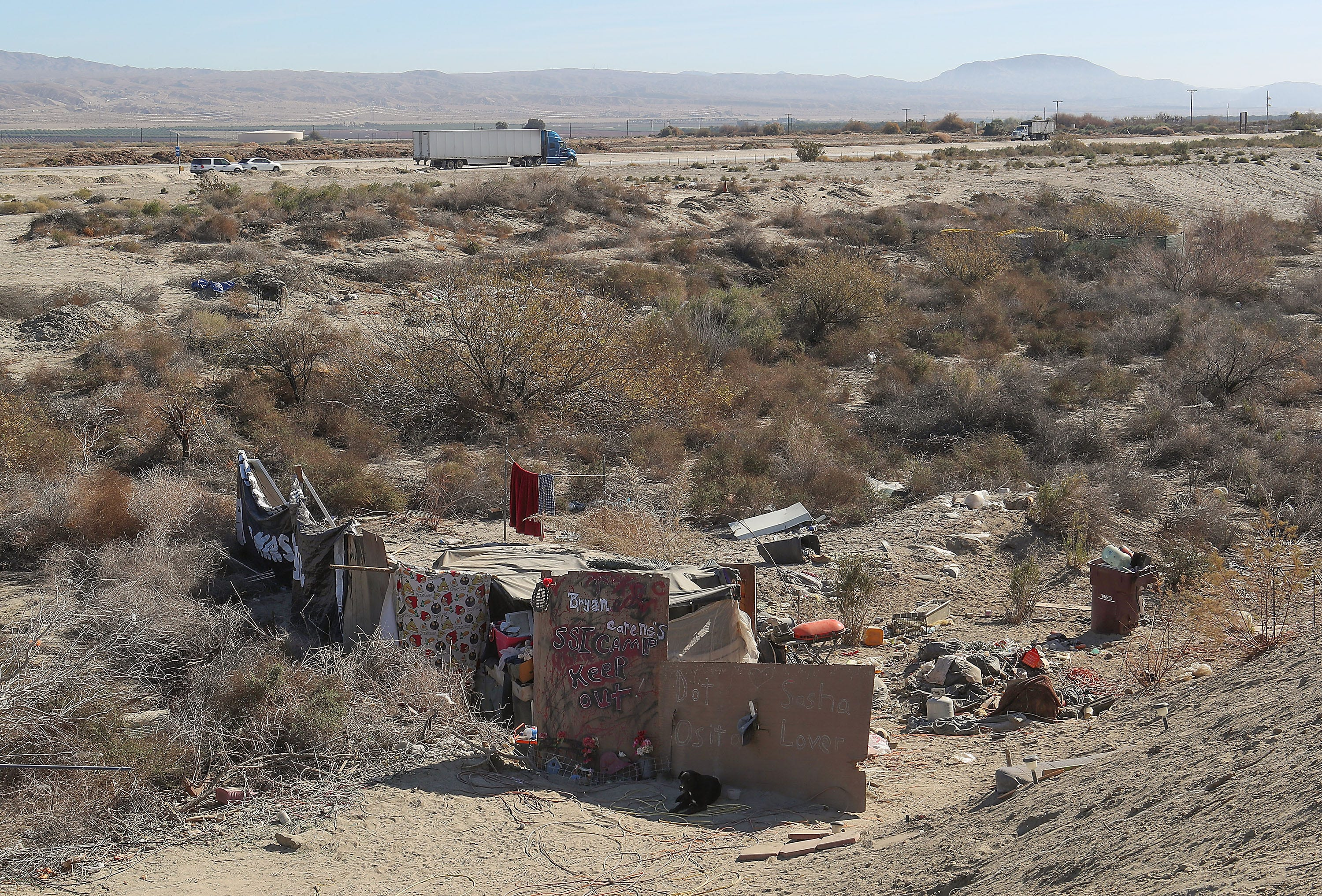 Bryan Hensley and Carene Riale lived at the Coachella encampment on Caltrans land near Dillon Road before it was razed in May 2018.