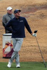 Sam Saunders tees off on 8 during the Bob Hope Legacy Pro-Am portion of the Desert Classic on Wednesday, January 16, 2019 in La Quinta.
