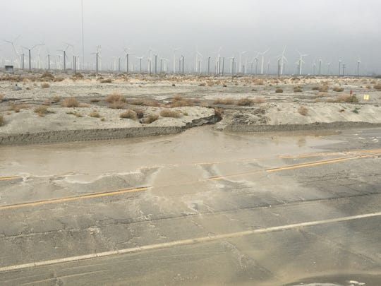 Indian Canyon Drive is closed between Interstate 10 and Tramview Road in Palm Springs due to flooding, Jan. 16, 2019.