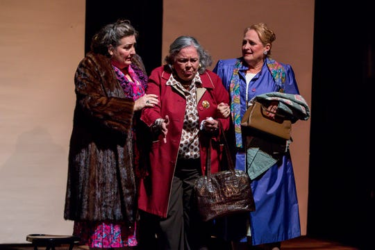 "Musetta Feldman, playing Lucille, left, Millie Fisher, playing Doris, and Sheryl VandenBerg, playing Ida, run through a dress rehearsal of ""The Cemetery Club"" at Pensacola Little Theatre on Monday, January 14, 2019. Originally written by Ivan Menchell and performed on Broadway in 1990, the dramtic comedy, directed locally by Mark Core-Noel, follows three Jewish widows who meet once a month to continue their friendship after the deaths of their husbands."