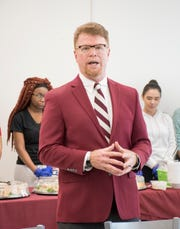 New head football coach and PHS alumnus Todd Leonard speaks during a gathering at Pensacola High School in Pensacola on Wednesday, January 16, 2019.