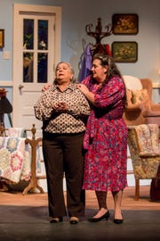"Millie Fisher, playing Doris, left, and Musetta Feldman, playing Lucille, run through a dress rehearsal of ""The Cemetery Club"" at Pensacola Little Theatre on Monday, January 14, 2019. Originally written by Ivan Menchell and performed on Broadway in 1990, the dramtic comedy, directed locally by Mark Core-Noel, follows three Jewish widows who meet once a month to continue their friendship after the deaths of their husbands."