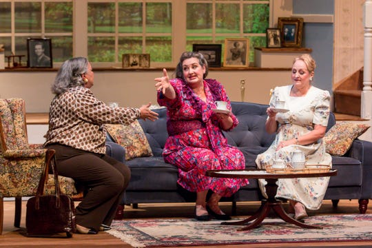 "Millie Fisher, playing Doris, left, Musetta Feldman, playing Lucille, and Sheryl VandenBerg, playing Ida, run through a dress rehearsal of ""The Cemetery Club"" at Pensacola Little Theatre on Monday, January 14, 2019. Originally written by Ivan Menchell and performed on Broadway in 1990, the dramtic comedy, directed locally by Mark Core-Noel, follows three Jewish widows who meet once a month to continue their friendship after the deaths of their husbands."