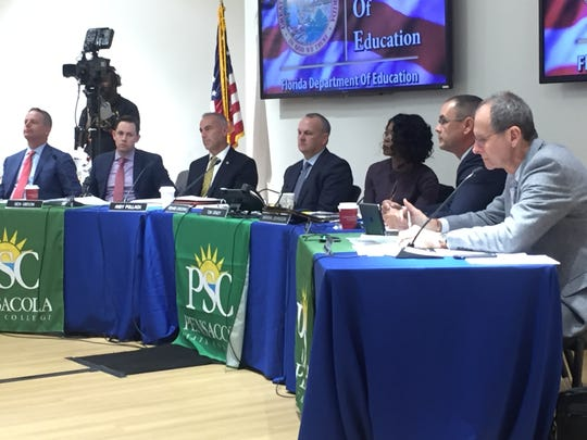 Florida Commissioner of Education Richard Corcoran and the State Board of Education meet Wednesday at Pensacola State College.