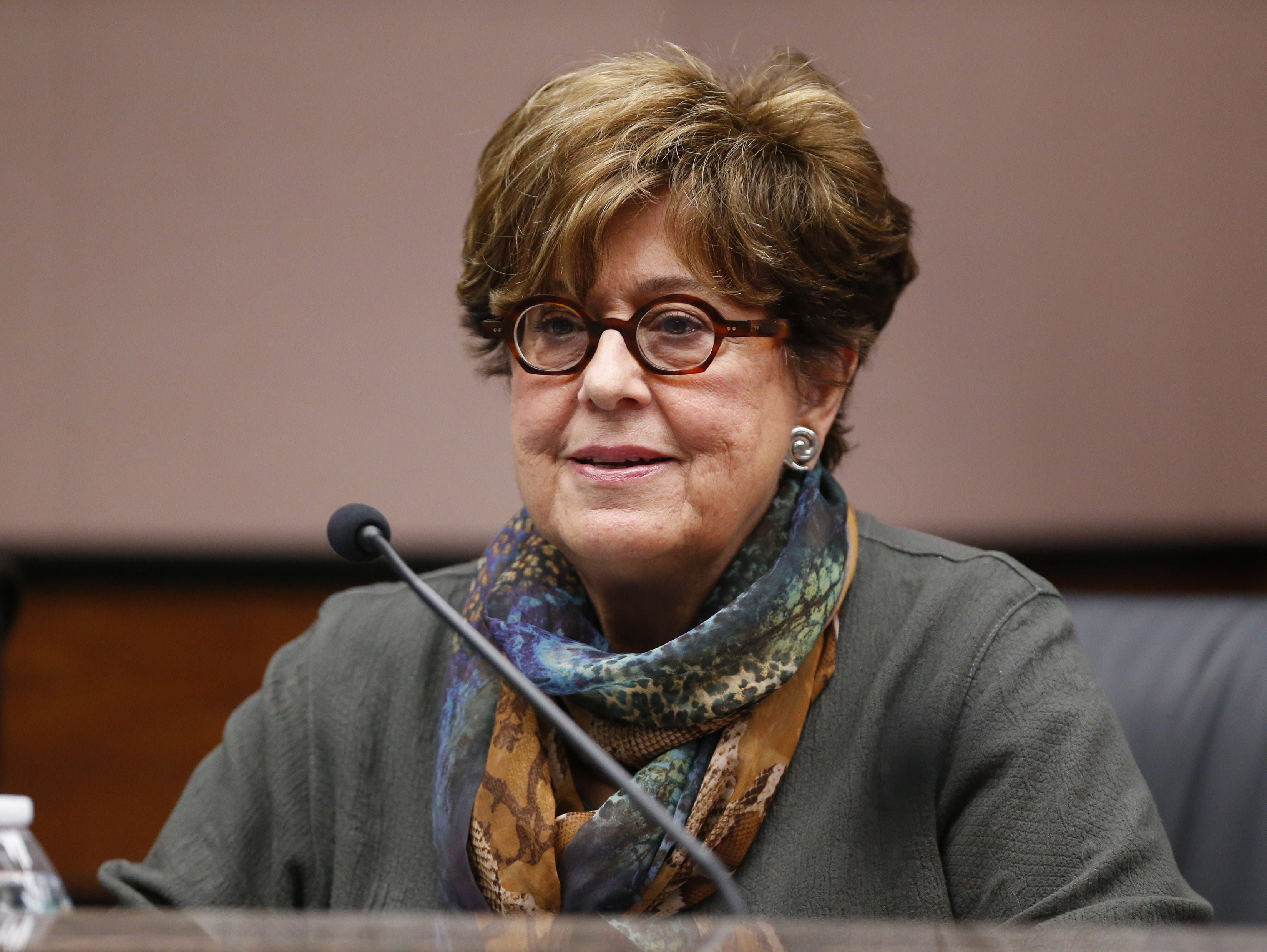 Board member Marie Sullivan listens during a special meeting of the Maricopa County Community College District Governing Board in Tempe January 15, 2019.