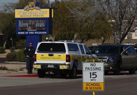 Goodyear officials investigate a bomb threat on Jan. 16, 2019.