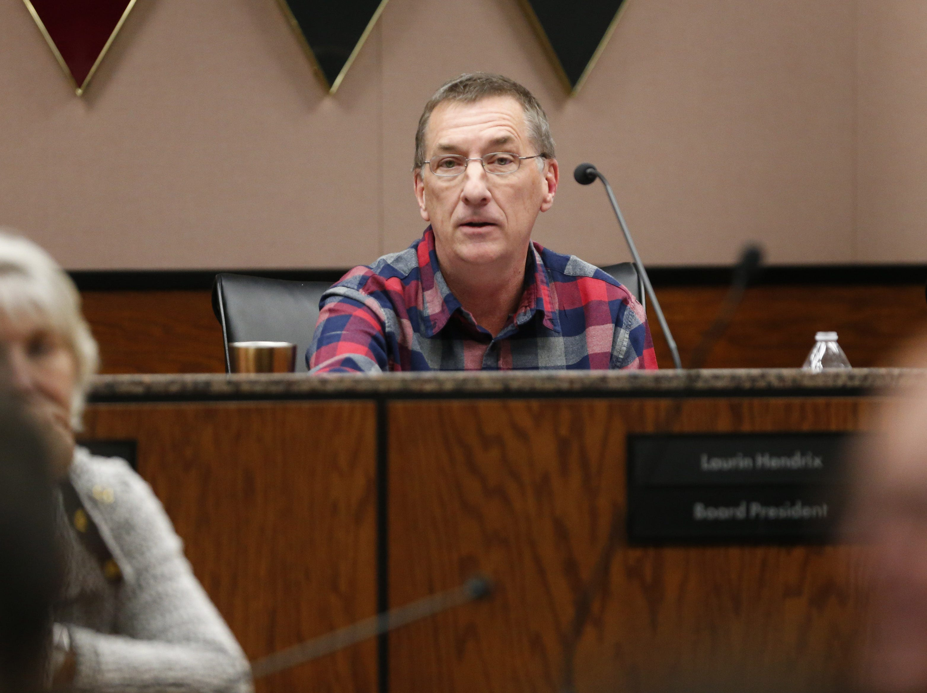 Board President Laurin Hendrix speaks after resigning during a special meeting of the Maricopa County Community College District Governing Board in Tempe January 15, 2019.
