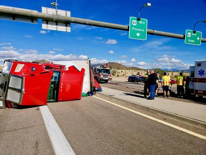 Overturned Semi-Truck on Highway 79 on January 16, 2019