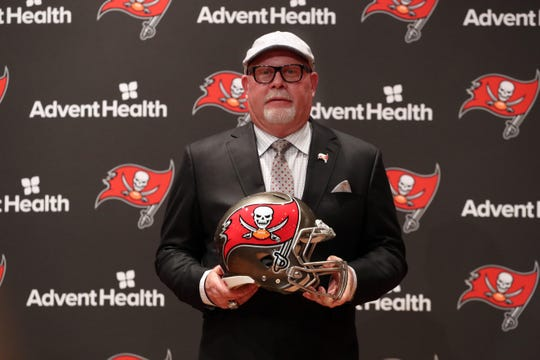 Tampa Bay Buccaneers head coach Bruce Arians poses for a photo as he is introduced as the team's new head coach on Jan. 10, 2019.