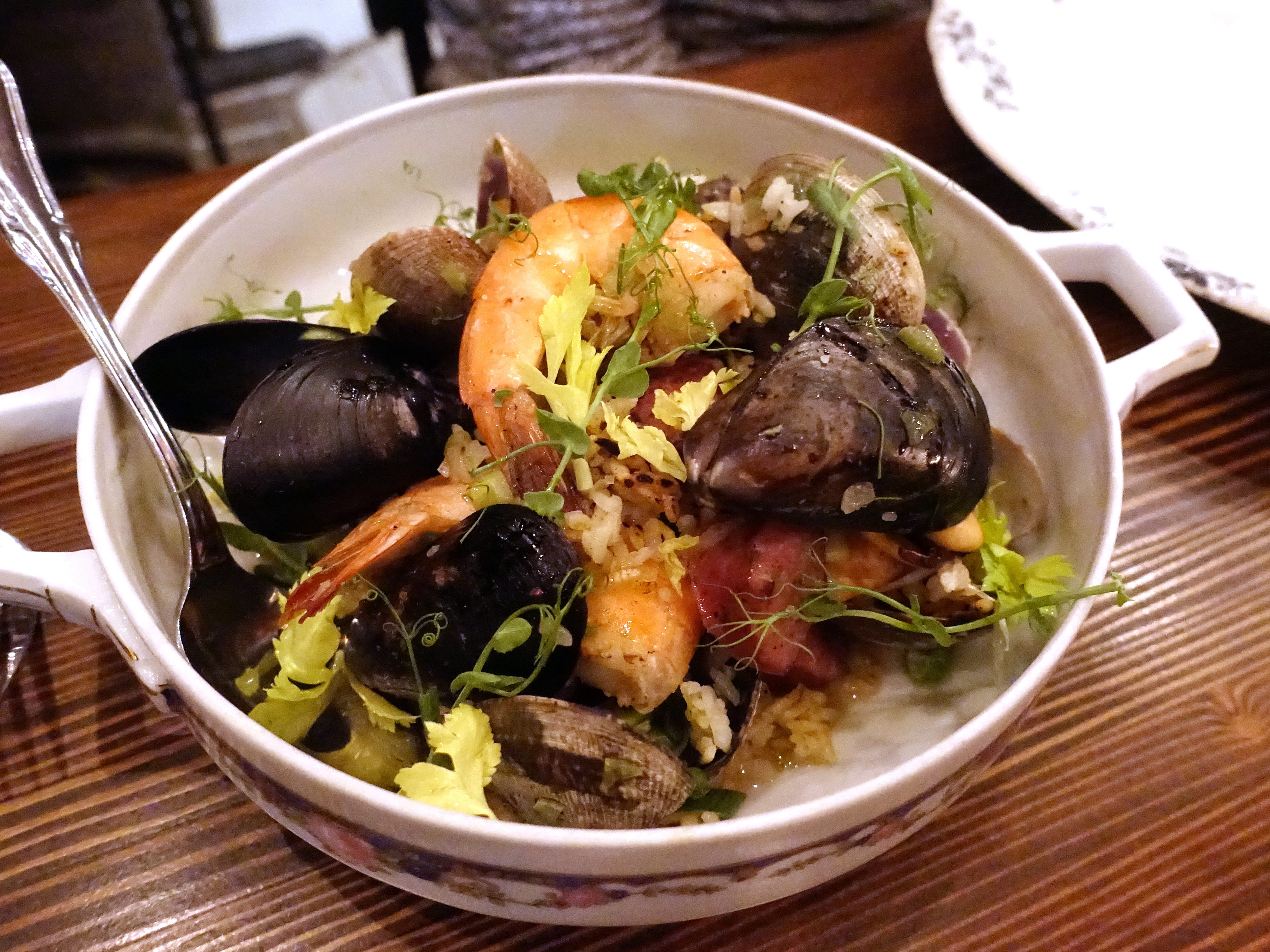Low country perlou with mussels, clams, shrimp, holy trinity and Carolina Gold rice at The Larder + The Delta in Phoenix.