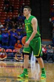 Oregon Ducks guard Payton Pritchard (3) during the first half versus the Boise State Broncos at Taco Bell Arena Dec. 29. Brian Losness-USA TODAY Sports