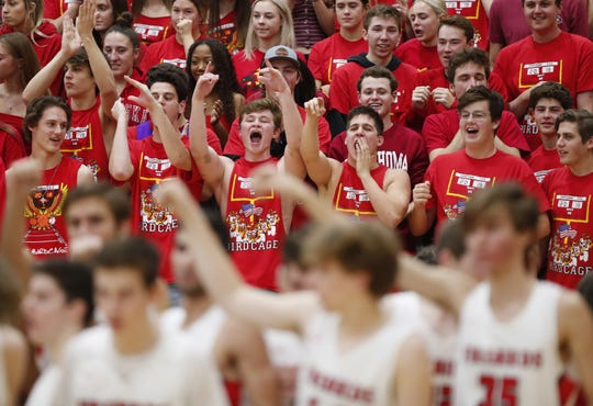 Chaparral students cheer for their team against Pinnacle in Scottsdale January 15, 2019.