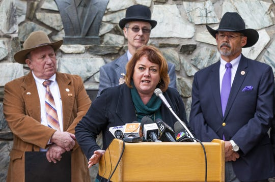 Tiffany Shedd, a cotton farmer from Eloy, speaks at a press conference at the Capitol in Phoenix with other farmers and legislators from Pinal County to talk about their overall support for the drought contingency plan, Tuesday, January 15, 2019.